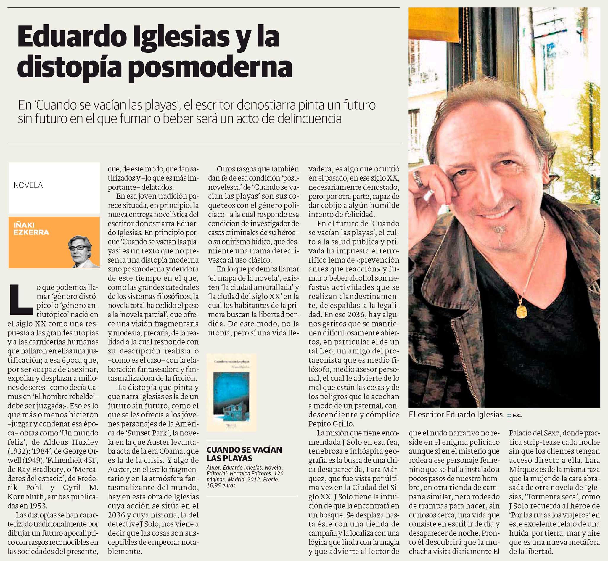 Eduardo Iglesias y la distopía posmoderna, por Iñaki Ezkerra en periódico El Correo