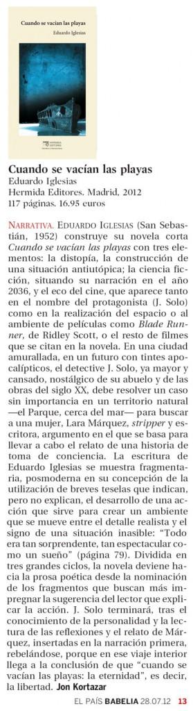 Reseña en el suplemento cultural Babelia en el periódico El País
